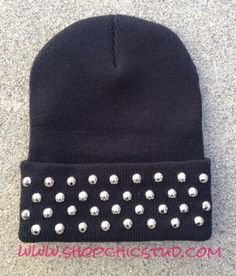 Studded Black Beanie Hat Circular Studs CHOOSE by ShopChicStud