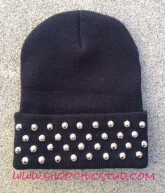 Studded Black Beanie Hat Circular Studs CHOOSE by ShopChicStud