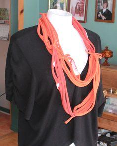 upcycle burnt orange tshirt scarf infinity fabric by recupefashion, $15.00