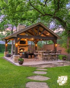This is a MUST for a great summer backyard! 😍 How great would this be for entertaining? And those lights at night ❤️ TAG a friend you would… Backyard Pavilion, Outdoor Pavilion, Backyard Patio Designs, Patio Ideas, Backyard Cabana, Garden Ideas, Pavers Ideas, Pergola Designs, Rustic Outdoor Fireplaces