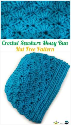 Crochet Seashore Shell Stitch Messy Bun Hat Free Pattern - #Crochet Ponytail Messy Bun Hat Free Patterns & Instructions