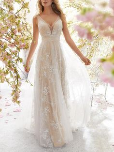 Sexy V Collar Lace Floral Embroidery Maxi Dress evening dresses prom evening dresses evening dresses elegant evening dresses long evening dresses cocktail dresses Top Wedding Dresses, Evening Dresses For Weddings, Lace Wedding Dress, Wedding Dress Trends, Wedding Gowns, Lace Maxi, Dress Lace, Tulle Wedding, Party Gowns