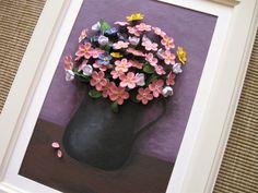 Quilled flowers in a vase (on a 27x36 cm frame)