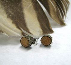 MINIATURE Rustic Peach Twig Wooden Stud Earrings by Tanja Sova - pinned by pin4etsy.com