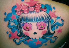 Colorful Girly Skull Tattoo Colorful and cute girly skull