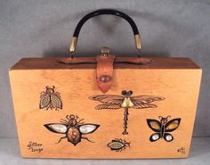 "Beetles, butterfly, dragonfly - minimal metal loss to these. Each is handmade, with applied ""bugs"" of metals and materials. Signed and dated 1962 inside. Estate find - unknown age and origin. Leather handle with turn latch. 