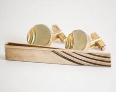 Vintage Cufflink Set Art Deco Swoop Gold Tone by CuffsandClips