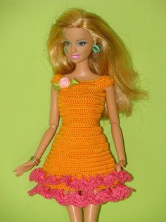 Barbie clothes Barbie outfit Barbie accessory Barbie doll clothes Barbie dress Clothes for dolls Doll clothes Crocheted dress