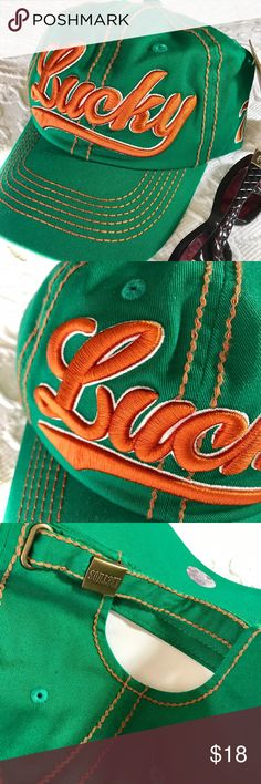 NWT You Lucky Girl You!  BB Cap Gorgeous Spring Green fab orange embroidery. Adorable and adjustable! New With Tags Baseball Cap.✨ Accessories Hats