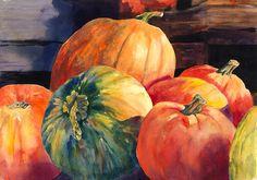 Pumpkins And Green Pumpkin Painting