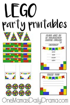 Free LEGO party printables pack instant download for One Mama's Daily Drama subscribers | banner triangles, tent cards, party circles, invitation and thank you note
