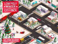 Low Poly City Winter Pack by Anton Moek on @creativemarket