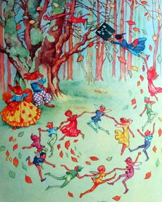 My Story Book 1964 - fairies dancing in the forest - illustrated by Rene Cloke.