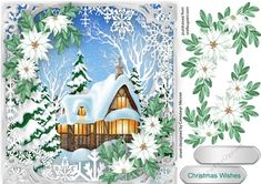 Christmas Cottage in the Snow  on Craftsuprint designed by Ceredwyn Macrae - A lovely card to make and give to anyone at this time of the year Christmas Cottage in the Snow  has one greeting tag and a blank one  - Now available for download!
