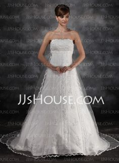 Wedding Dresses - $228.69 - Empire Strapless Watteau Train Tulle Charmeuse Wedding Dress With Lace Beadwork (002016930) http://jjshouse.com/Empire-Strapless-Watteau-Train-Tulle-Charmeuse-Wedding-Dress-With-Lace-Beadwork-002016930-g16930