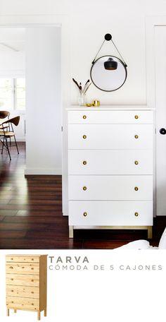 Conjunto c modas y mesitas de noche blanco y dorado - Ikea mesitas de noche y comodas ...