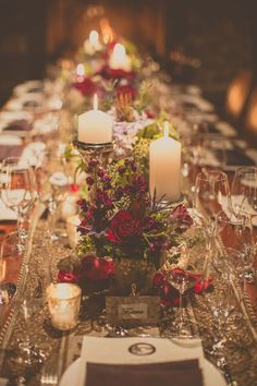 Romantic much? Host your reception in a log cabin and set up this dreamy tablescape and we're guessing you're going to have a hard time getting guests to ever leave. We sure wouldn't.