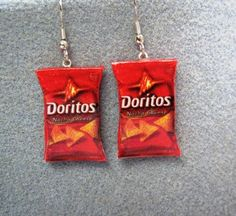 Doritos Nacho Cheese Kitsch Dangle Polymer Clay Junk by craftymule Cute Earrings, Gemstone Earrings, Ring Earrings, Stud Earring, Cute Jewelry, Unique Jewelry, Jewelry Accessories, Cool Piercings, Doritos