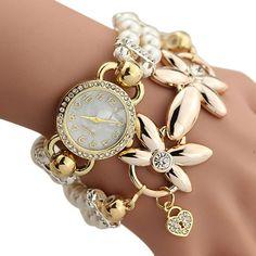 Luxury Whte Pearl Bracelet Jewelry Quartz Watch Women Dress Watch Ladies Wrist watch 2016 Relogio Feminino Clock