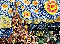 """Vincent van Gogh's Starry Night"" by Artist Genevieve Esson, Watercolor, 9""h x 12""w. $2000.00. I created this watercolor painting when I was in high school. 45% OFF PRINTS through 9/20. Code: KSSUES"