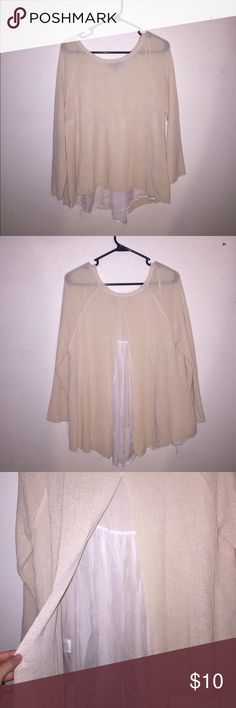 Open back slit sweater Cream open back slit sweater . Whit see through chiffon lay between the slits . Very elegant and beautiful sweater . In great condition , hasn't been worn much olivia sky  Sweaters