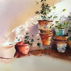 Wonderful watercolor works by Blanca Álvarez.art Shared by Veri Apriyatno Artist . Watercolor Landscape, Watercolor And Ink, Watercolor Illustration, Watercolour Painting, Watercolor Flowers, Watercolors, Watercolor Paintings For Beginners, Watercolor Pictures, Oeuvre D'art
