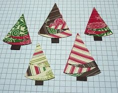 Folded Christmas Trees made from circles of two-sided papers Origami Christmas Tree, Christmas Tree Napkins, Christmas Tree Pattern, Xmas Tree, Christmas Art, Christmas Tree Ornaments, Christmas Decorations, How To Make Ornaments, Crafts To Make