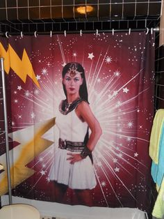 Oh Mighty ISIS Shower Curtain Saturday Morning Cartoon Shazam Egyptian Superhero #Sallyandmitch #OhMightyISISEgyptianSuperHeroine