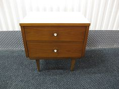 MID CENTURY WALNUT NIGHTSTAND END TABLE ONE OF A PAIR DANISH MODERN