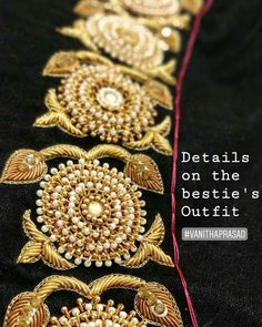 Zardosi Embroidery, Kurti Embroidery Design, Bead Embroidery Patterns, Hand Work Embroidery, Bead Embroidery Jewelry, Hand Embroidery Designs, Bullion Embroidery, Pattu Saree Blouse Designs, Blouse Designs Silk