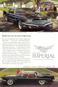 1960 Chrysler Imperial Custom - Styled for an era just beginning - Original Ad