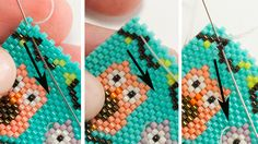 How to Weave-In Beading Thread With Peyote Stitch: Pass Diagonally Through Several Beads