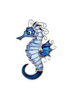 Blue and white stained glass brooch Sea Horse Sea life jewelry Sea Horse jewelry Nautical jewelry Hippocampus Sea animal creatures pin Seahorse Painting, Seahorse Tattoo, Seahorse Art, Seahorses, Seahorse Drawing, Mermaid Under The Sea, Creature Drawings, Horse Jewelry, White Stain