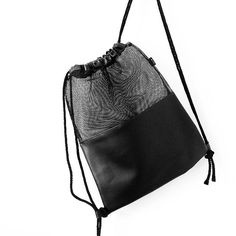 Black Mesh Leather Drawstring Bag Transparent by pingypearshop