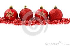 Red baubles isolated on white Christmas background