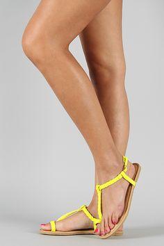 Wild Diva Lounge Tanaya-154 Neon Braided Toe Ring Flat Sandal Shoe Gods, T Strap, Ankle Strap, Flat Sandals, Flats, Toe Rings, Diva, Braids, Lounge