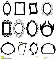Black and white clip art mirror | Jogo de silhuetas modernas e antigas diferentes dos espelhos ...