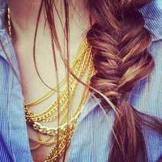 messy fishtail + layered necklaces.