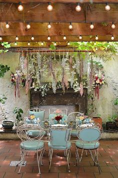 Types of Outdoor String Lights For Pergola Shabby Chic Backyard Design With Shining String Lights For Wooden Pergola With White Wrought Iron Chairs Using Teal Cushions Brooklyn, Garden Wedding, Dream Wedding, Wedding Music, Perfect Wedding, Floral Chandelier, Deco Floral, Hanging Flowers, Hanging Plants