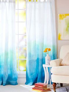 DIY Curtains Projects for Your Home Decoration - Ombre curtains ( Paige's Room) My New Room, My Room, Ombre Curtains, White Curtains, Diy Tie Dye Curtains, Beachy Curtains, Purple Curtains, Velvet Curtains, Colorful Curtains