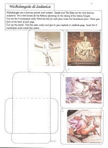 Free printables for studying Artist- Michelangelo #homeschool #freeprintables #homeschoolart