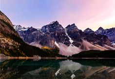 Moraine Lake in Alberta, Canada under the autumn twilight. Photo taken by Ambrose Fung