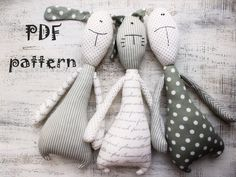 3 in 1 PATTERN for various stuffed toys stuffed animals bear bunny rabbit cat kitten 14 inches DIY primitive toys