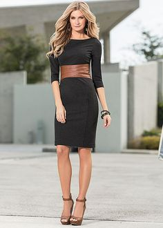 I love this faux leather waist dress from VENUS. I just ordered it, on sale, and can't wait 'till it gets here!
