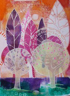 Original mixed media gelatin monoprint forest Lucy Brydon