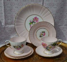 Royal Grafton Tea for Two - Tea Cups, Saucers, Tea Plates, Serving Plate, Vintage Pale Pink, Floral and Gilt Bone China