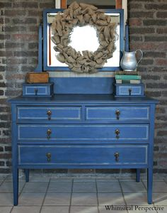 Whimsical Perspective: A Whimsical Makeover: The Blue Dresser Edition