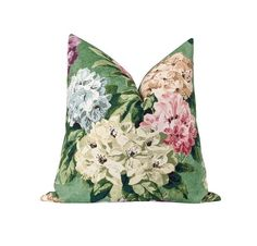 This beautiful pillow features a floral print in shades cream, purple, spa blue, coral, dusty rose, blush, tan, brown, black on a green background. A great way to accent your room with a pop of color. A perfect stain resistant way to decorate your living room, family room, or bedroom! Color - Jardin Colors include shades of cream, purple, spa blue, coral, dusty rose, blush, tan, brown, black on a green background SAME FABRIC BOTH SIDES Pattern placement may vary compared to image shown. Size Purple Throw Pillows, Cream Pillows, Floral Pillows, Velvet Pillows, Accent Pillows, Blush Living Room, Living Room Green, Green And Purple, Shades Of Green