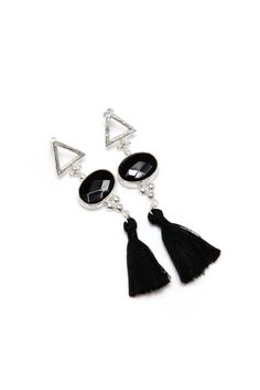 Tassel Onyx Oval Earrings http://www.sashafe.com/gift-collection
