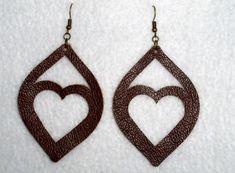 Leather Earrings Leaf Heart Brown Handmade Dangle Simple Minimalist #Handmade #DropDangle